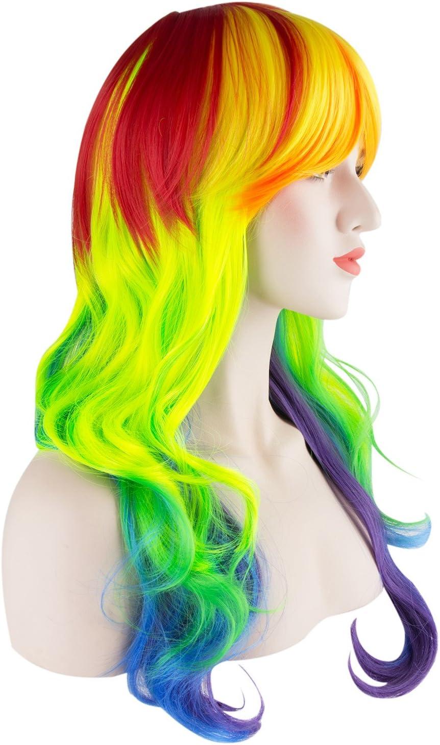 halloween ideale per feste da donna e ragazza resistente al caldo cosplay color arcobaleno Parrucca My Little Pony
