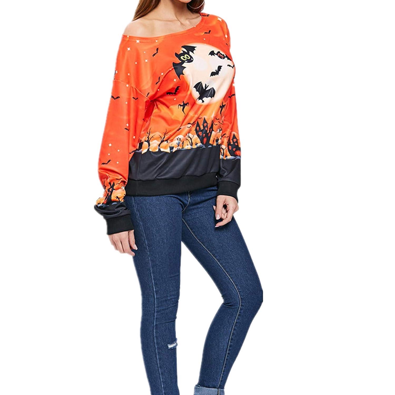 Taiduosheng con Stampa di Zucca Arancione per Costume di Halloween Felpa per Halloween con Spalle Scoperte