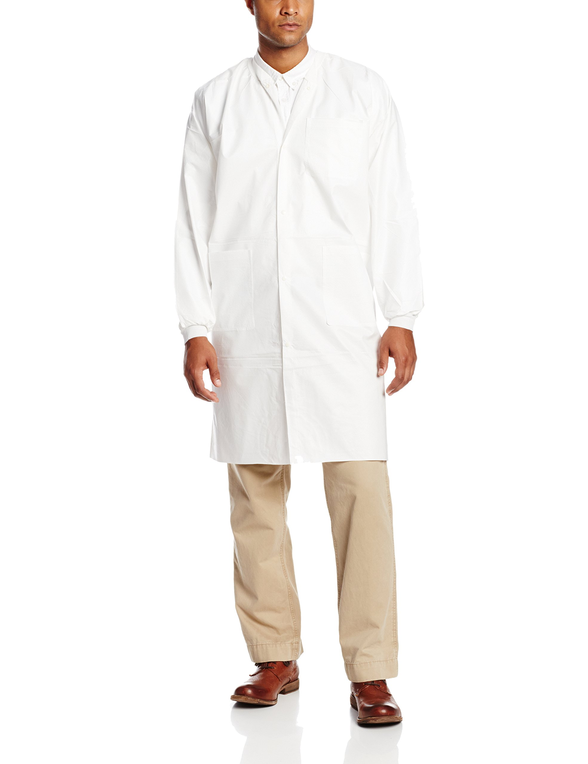 ValuMax 3960WHL LiquidGuard Microporous Breathable Film Disposable Lab Coats, 3 Pockets, Knee Length, White, L, Pack of 10