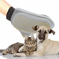 Pettom Pets Grooming Mitt Pet Brush Dog Grooming & Cat Grooming Glove Right & Left Handed Fit Soft & Gentle Shedding Brush (Grey)