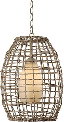 Kenroy Home 93316TN Seagrass Fixtures, 1 Light Pendant, Natural Rope
