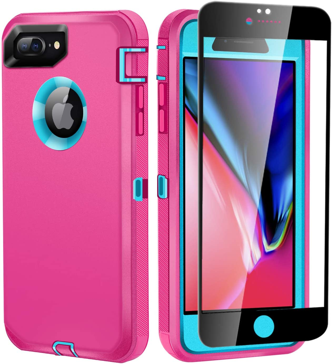 iPhone 8 Plus/7 Plus Phone Case with Screen Protector Tempered Glass, Heavy Duty Full Body Protective Rugged Anti-Slip Shockproof Drop-Proof Cover for Apple iPhone 8+/7+, 5.5