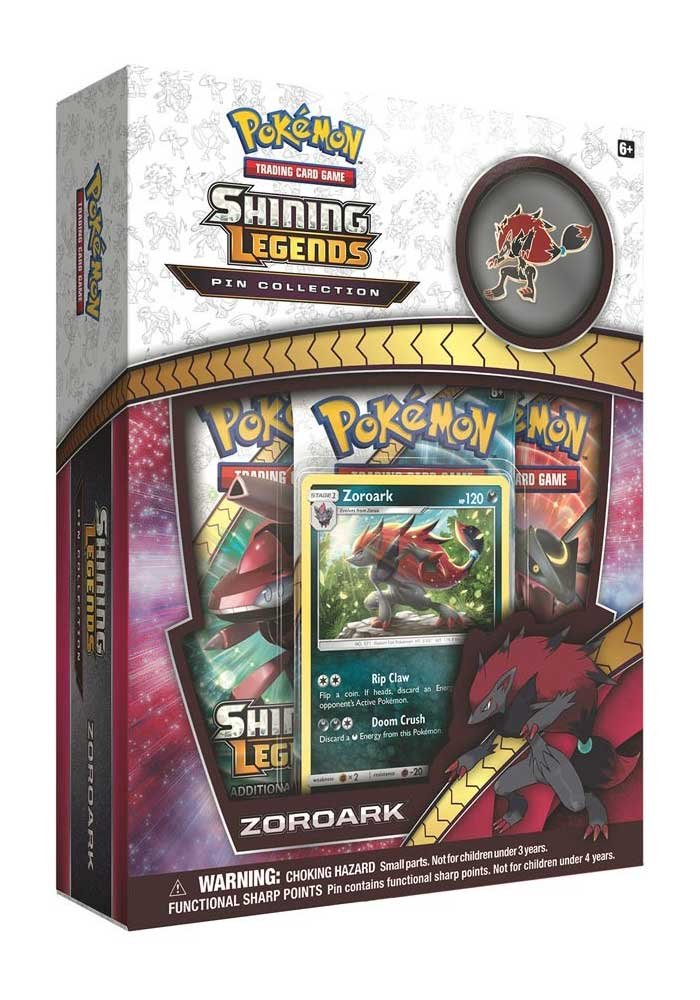 Pokemon TCG: Shining Legends Pin Collection – Zoroark, Premium Collectible Trading Card Set, Includes 3 Booster Packs, 1 Ultra Rare Foil Promo Card, 1 Collectors Pin, Online Code Card