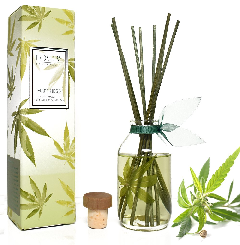 LOVSPA Cannabis Essential Oil Aromatherapy Reed Diffuser Gift Set | Happiness | Earthy-Woody Notes of The Cannabis Plant Blend with Apricot, Balsam, Minty Patchouli & Amber