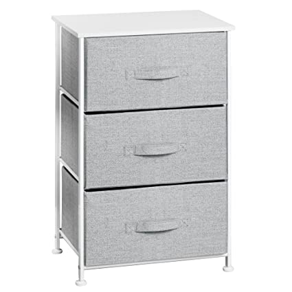 InterDesign Aldo Fabric 3-Drawer Dresser and Storage Organizer Unit for  Bedroom, Dorm Room, Apartment, Small Living Spaces – Gray