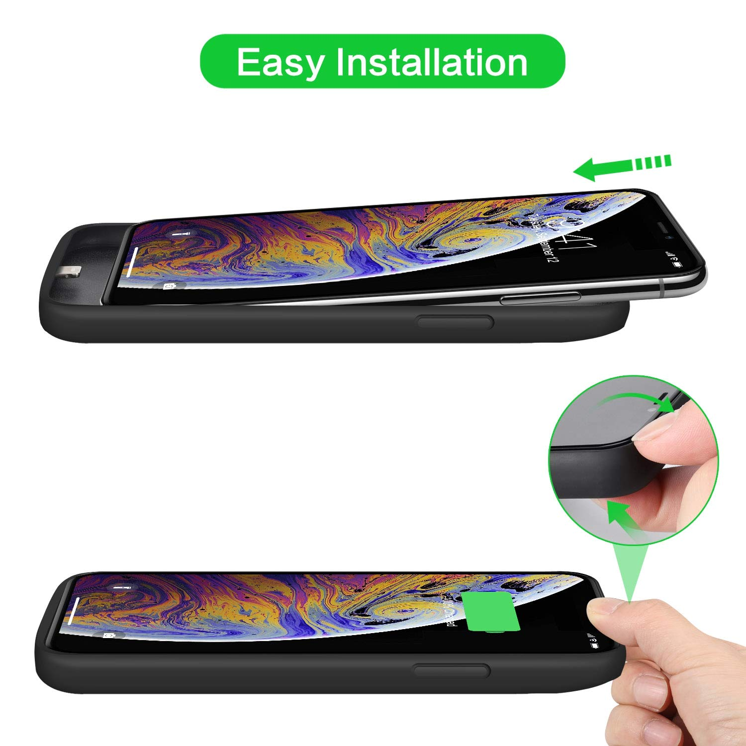 Black Battery Case for iPhone 8/7 Upgraded 6000mAh Portable ...