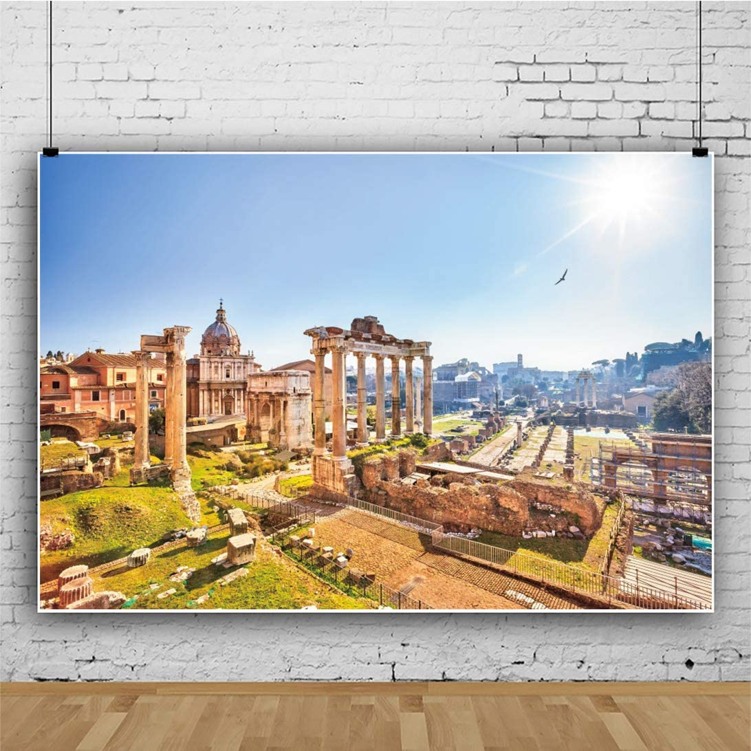 YEELE 12x8ft Ancient Backdrop Roman Forum Photography Background Tourist Attractions Historical Architecture Scenic Europe Spots Kids Adults Artistic Portrait Photoshoot Props Wallpaper