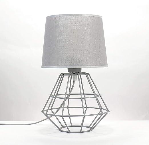 Lámpara de mesa gris pantalla de tela estructura de metal alambre ...