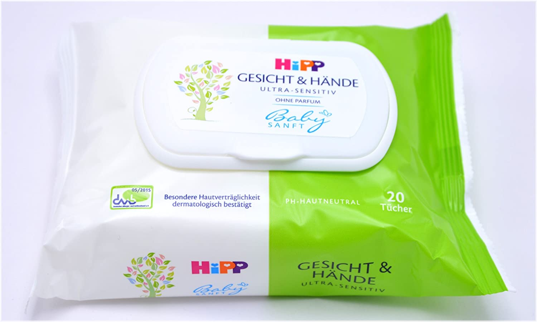 HiPP Babysanft Gesicht /& H/ände T/ücher 5x20 T/ücher