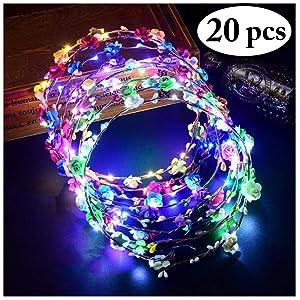 FunPa 20PCS LED Flower Headband Light Up Flower Crown Garland Headband Luminous 10 LEDs Floral Headpiece for Women Girls Hair Accessories Birthday Wedding Festival Party (20 PCS)