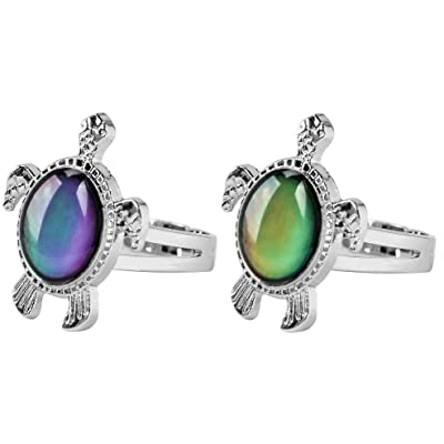 Acchen Mood Rings Sea Turtle Change Color Emotion Feeling Finger Ring with Gift Box 2pcs (Two Turtles): Jewelry [5Bkhe0805712]