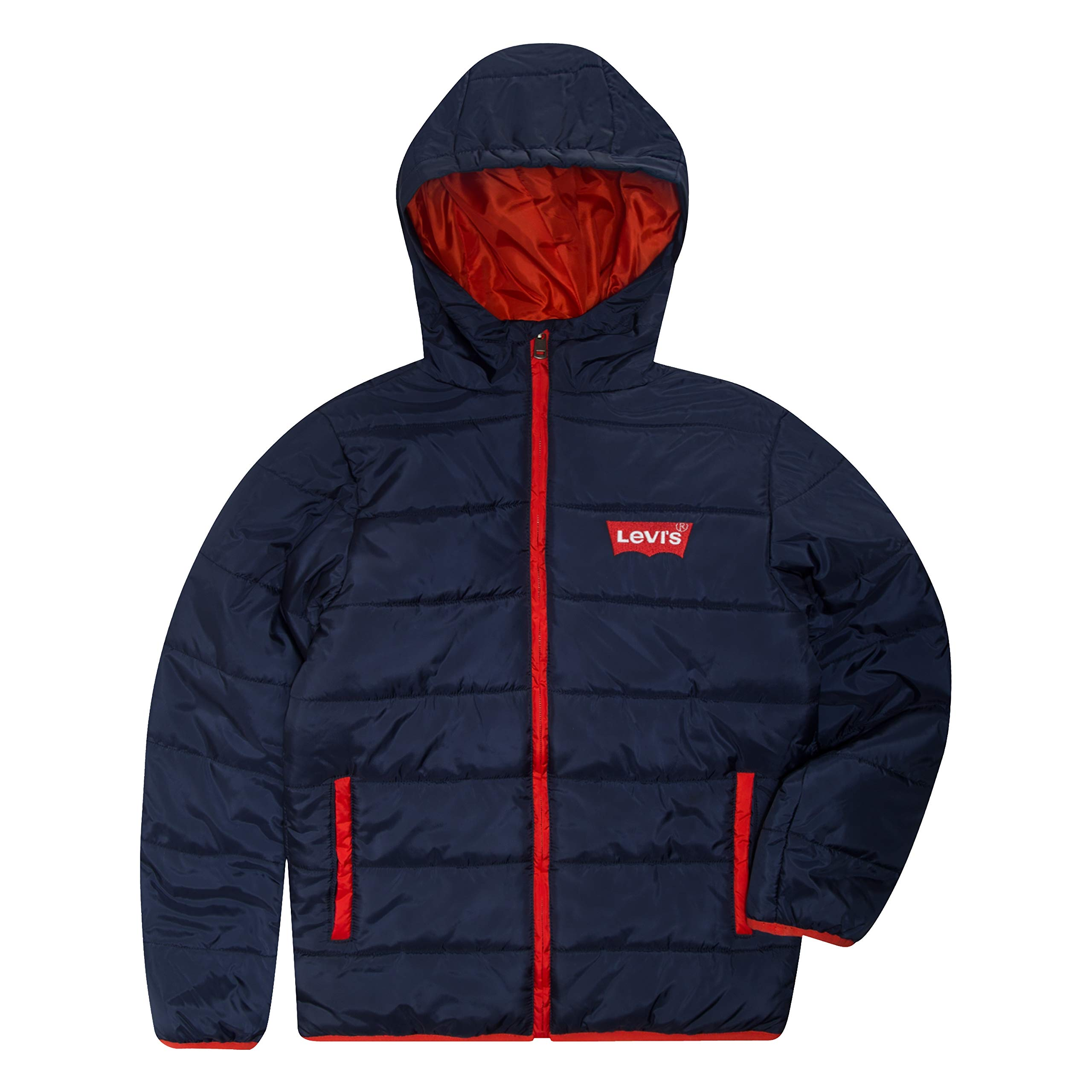 Levi's Boys' Big Puffer Jacket, Dress Blues/Red S