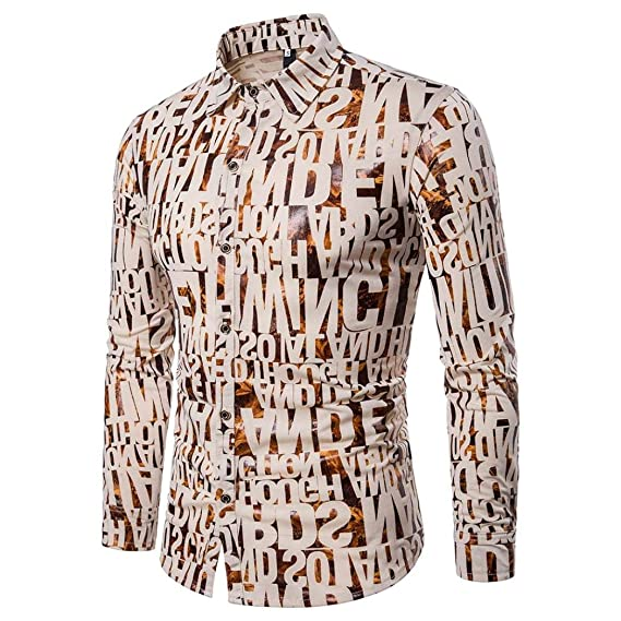 Camisas Informales para Hombres Camisa Ajustada de Manga Larga otoñal Blusa Top Estampada alfanumérica doblada Camisas de Solapa Doradas de Dos Botones: ...