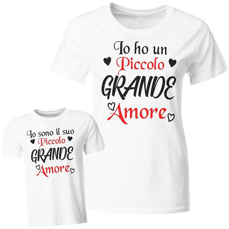Tuttoinunclick Coppia Tshirt Maglietta Madre Figlio Figlia Festa della Mamma Piccolo Grande Amore Idea Regalo GR479