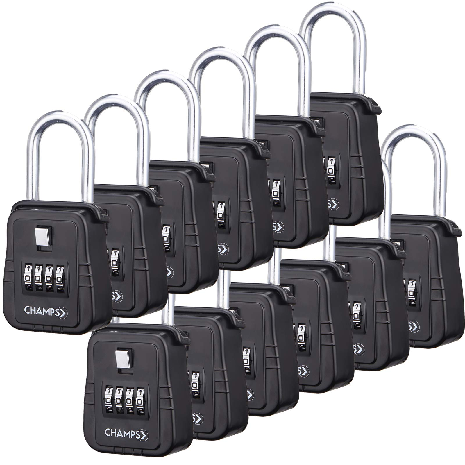 Champs Combination Realtor Lock, 4 Digit Comination Padlock, Real Estate Key Lock Box, Set-Your-Own Combination [12 Packs, Black] by Champs