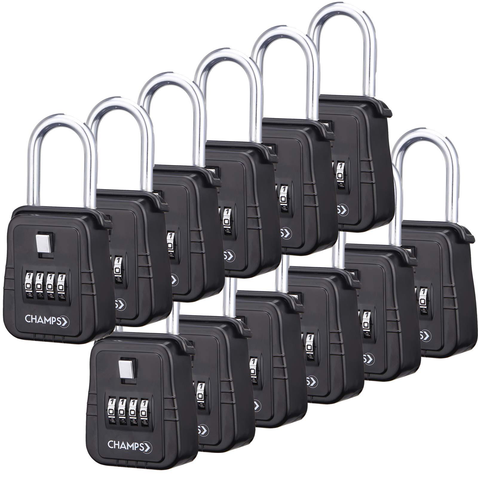 Champs Combination Realtor Lock, 4 Digit Comination Padlock, Real Estate Key Lock Box, Set-Your-Own Combination [12 Packs, Black]