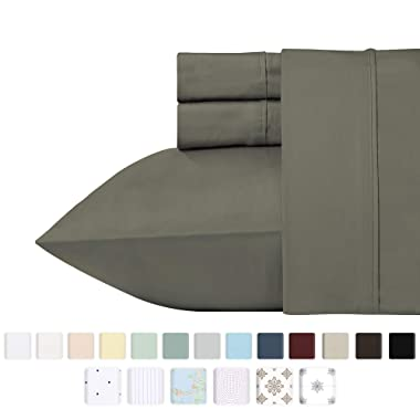 California Design Den 400 Thread Count 100% Cotton Sheet Set, Smoked Pearl King Sheets 4 Piece Set, Long-Staple Combed Pure Natural Cotton Bedsheets, Soft & Silky Sateen Weave