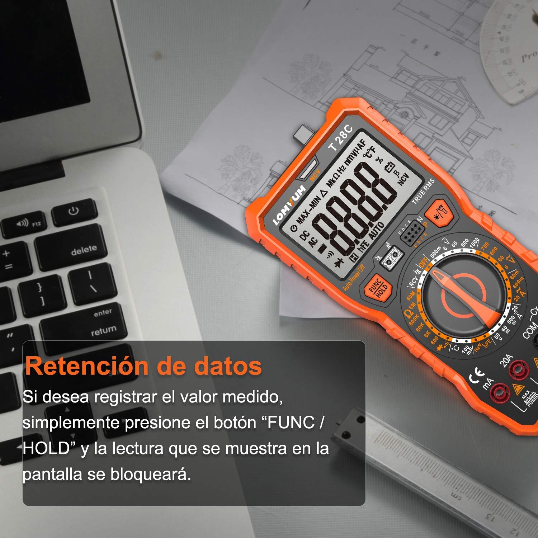 Multímetro Digital Profesional, LOMVUM T28C Manual Rango Polimetro Digital 6000 Cuentas y 2000uF Tester Digital: Amazon.es: Bricolaje y herramientas