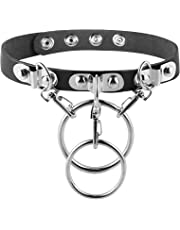 HZMAN Fashion Women Men Cool Punk Goth Metal Spike Studded Leather Collar Choker Necklace