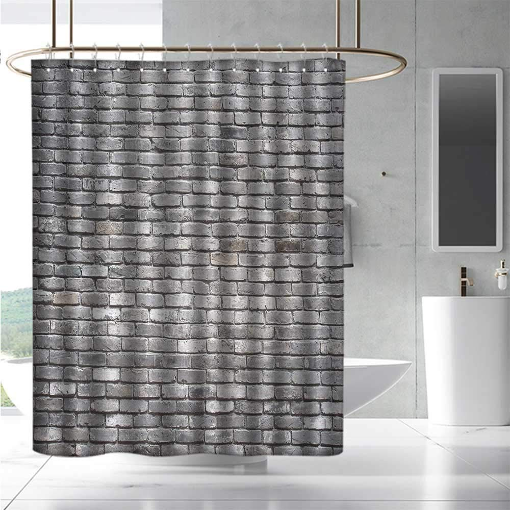 Exceptionnel Shower Curtains With Yellow Accents Grey,Image Of An Aged Old And Rough  Brick Wall Obsolete Concrete Structure With Ragged Surface,Grey,W48 X L72, Shower ...