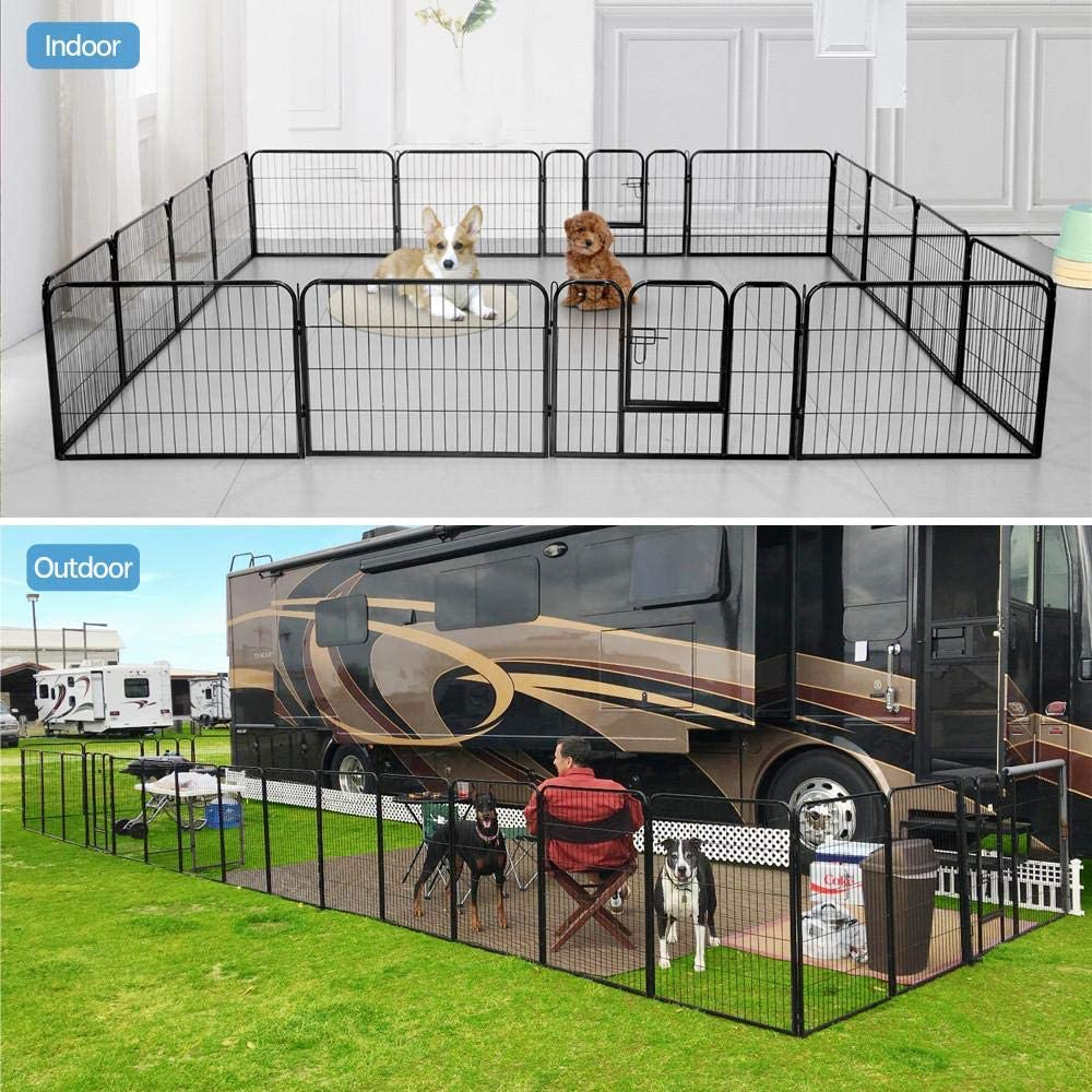 Yaheetech Heavy Duty Foldable Metal Pet Dog Puppy Cat Exercise Fence Barrier Playpen Kennel, Outdoor Indoor,16 Panels 8 Panels