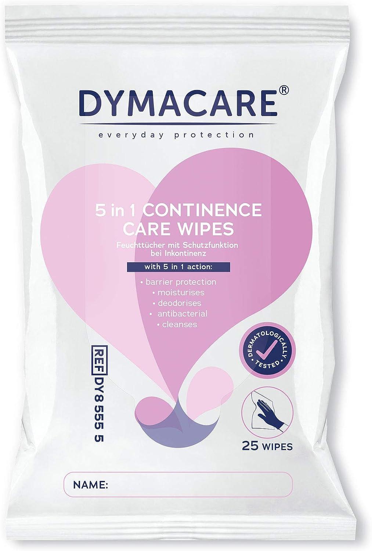 PH Neutre Paquet de 25 lingettes DYMACARE Lingettes Incontinence Adulte Lingettes Humides Parfum/ées Pour Toilette Intime Patient Incontinent