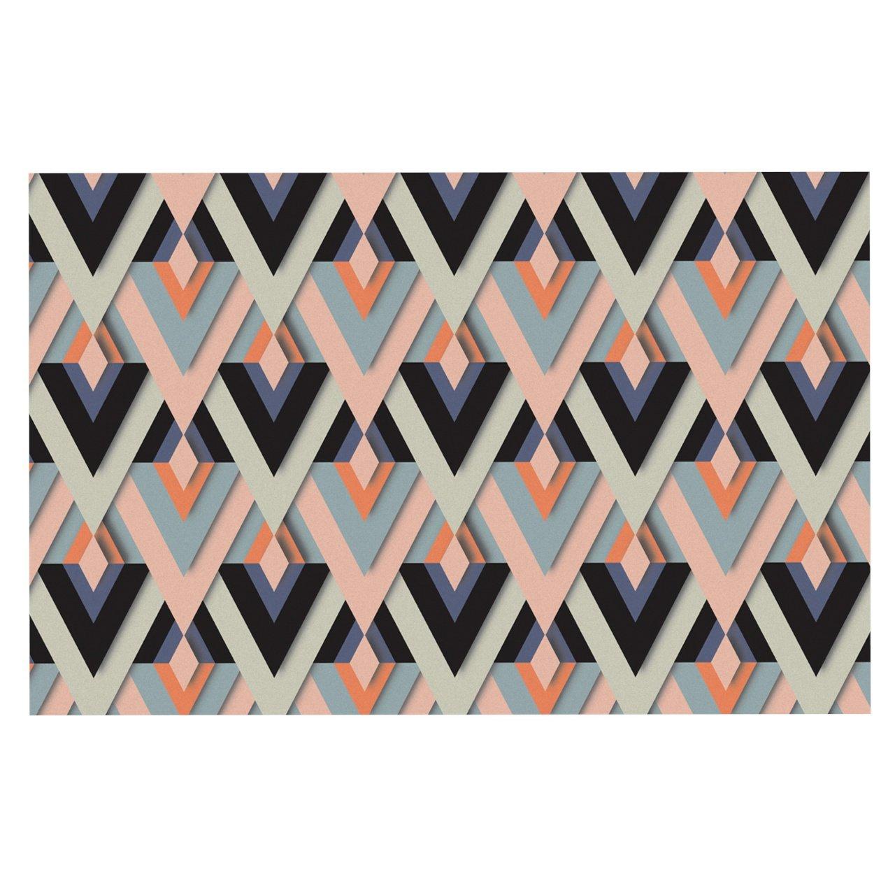 KESS InHouse EM1029ADM02 Akwaflorell Sweet & Sharp Pink Green Dog Place Mat, 24  x 15