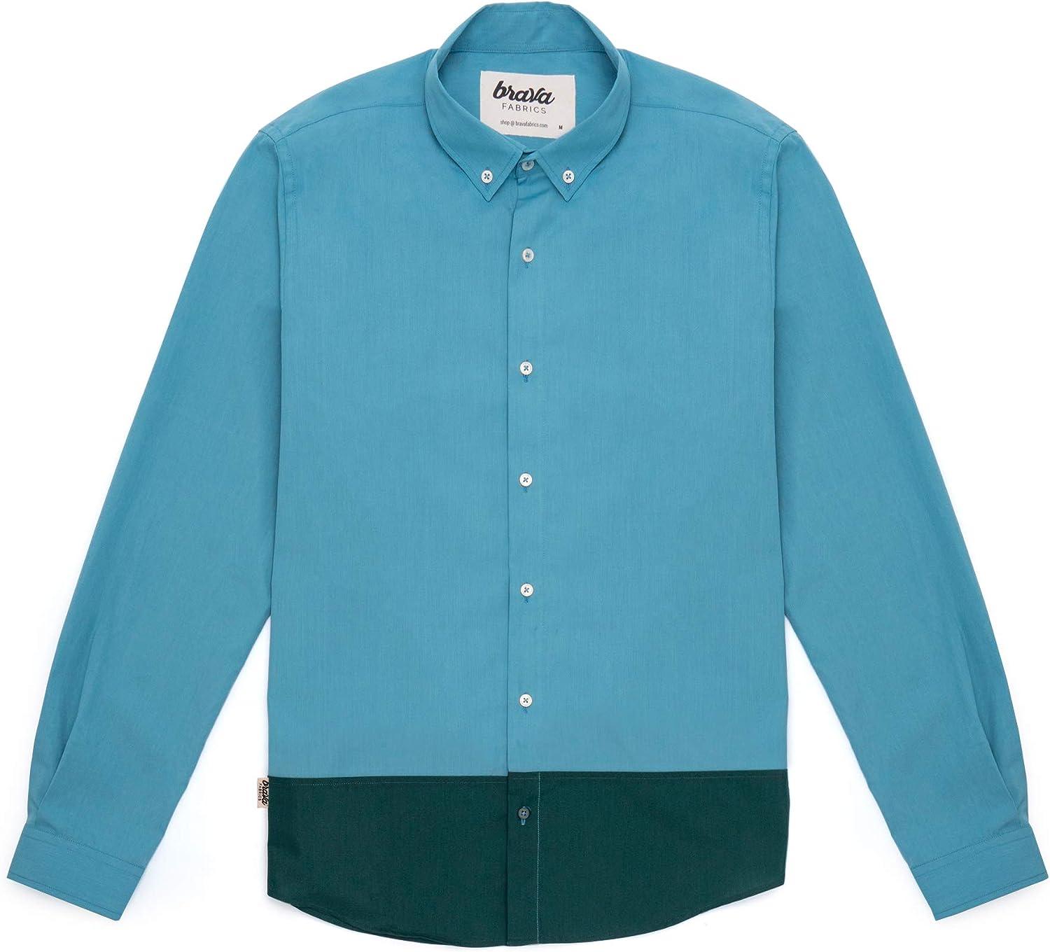 Brava Fabrics | Camisa Hombre Manga Larga Estampada | Camisa Azul para Hombre | Camisa Casual Regular Fit | 100% Algodón | Modelo Niagara Tile Essential | Talla: Amazon.es: Ropa y accesorios
