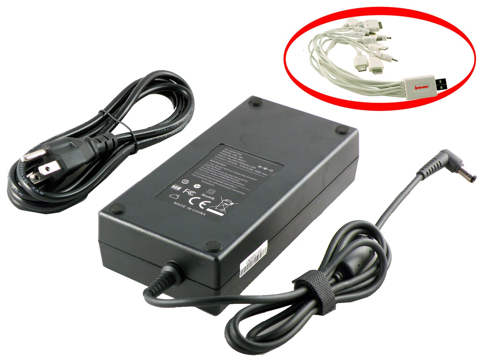 iTEKIRO 180W Laptop Charger AC Adapter for Asus G75VX, G75VX-BHI7N09, G75VX-BHI7N11, G75VX-DH72-CA, G75VX-DS72, G75VX-DS73-3D, G75VX-TS72, G751JM, G751JM-BHI7T25 + 10-in-1 USB Charging Cable
