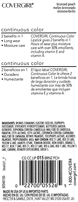 Amazon.com : CoverGirl Continuous Color Lipstick, Bronzed Peach (015), 2 Pack : Beauty