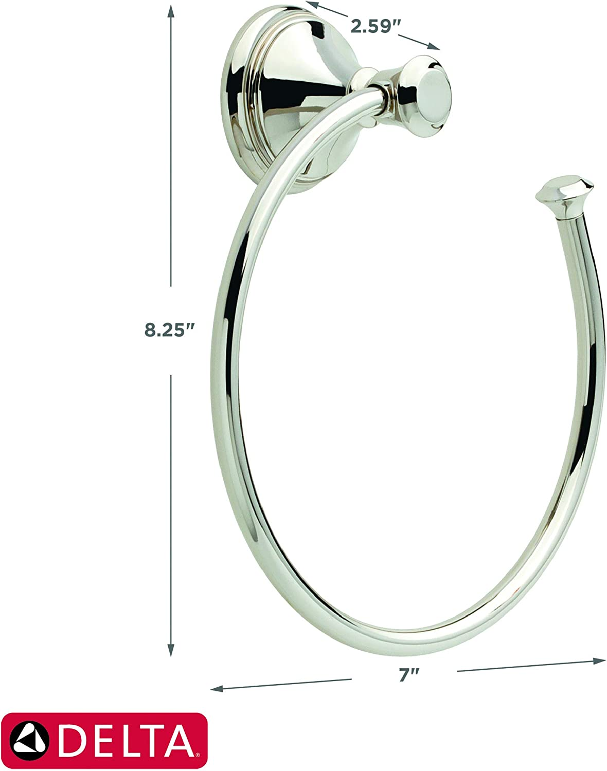Delta Faucet Bathroom Accessories 79746 Cassidy Hand Towel Ring, Polished Chrome, 2.63 x 7.00 x 2.63 inches - Bathroom Sink Faucets -