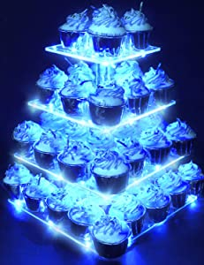 Vdomus Pastry Stand 4 Tier Acrylic Cupcake Display Stand with LED String Lights Dessert Tree Tower for Birthday/Wedding Party (Cold)