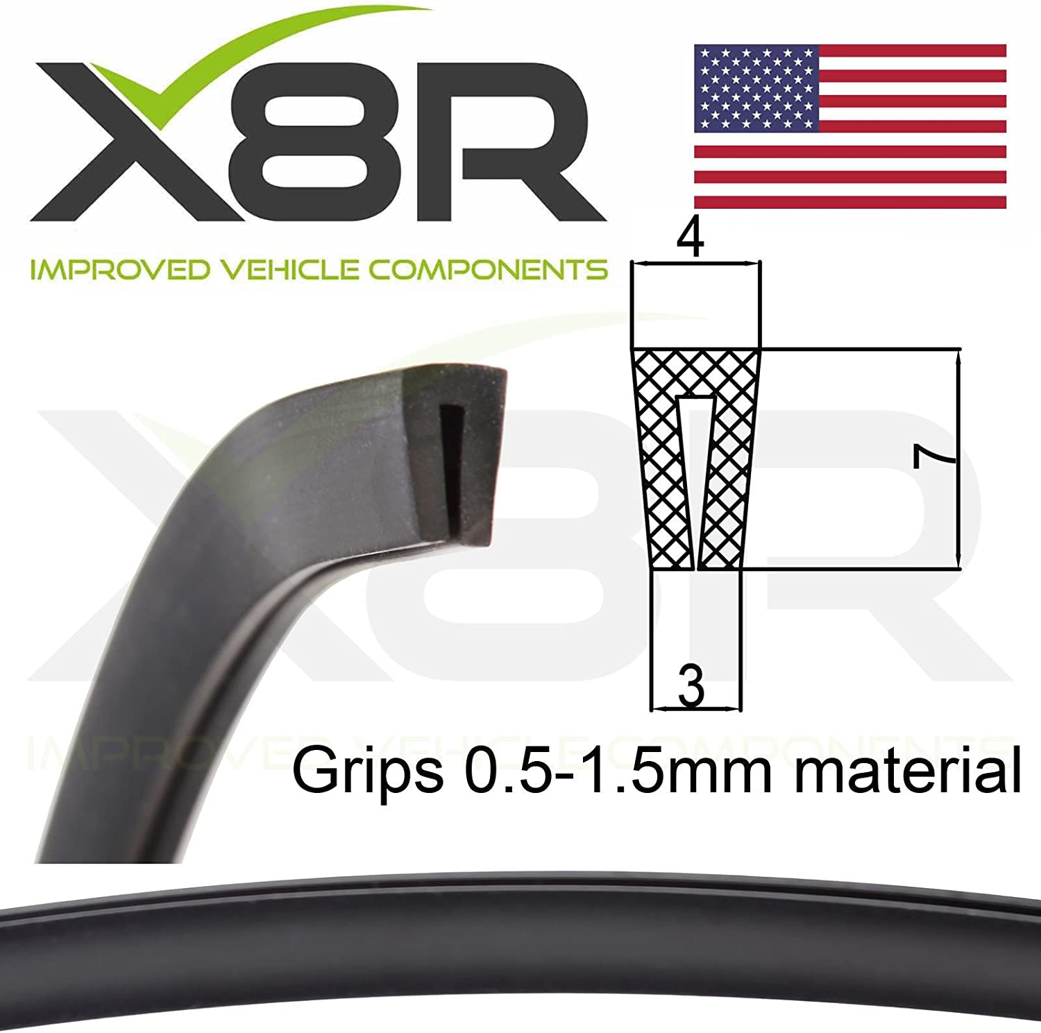 Small Black Rubber U Channel Edging Edge Protect Protection Trim Seal Flexible