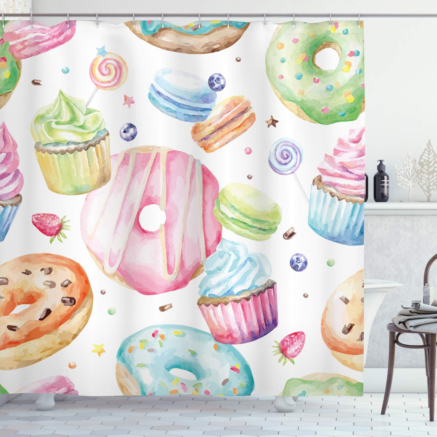Ambesonne Sweet Decor Shower Curtain by, Delicious Macaron Cupcakes Donuts Muffins Sugar Tasty Yummy Watercolor Design, Fabric Bathroom Decor Set with Hooks, 75 Inches Long, Green Pink by Ambesonne