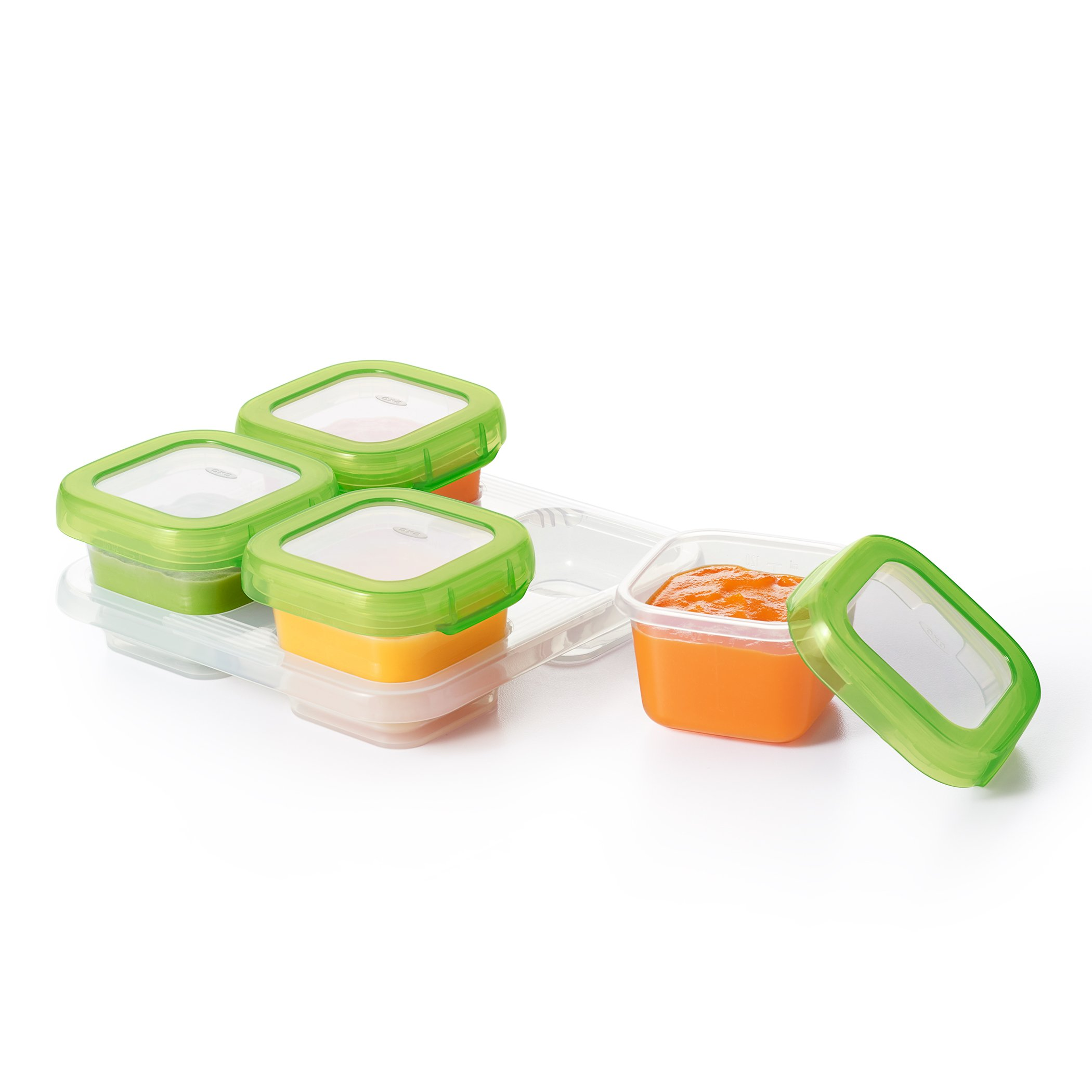 OXO Tot Mealtime Starter Value Set with Roll-up Bib, Feeding Spoons, Food Masher and Four 4oz Baby Blocks Freezer Storage Containers by OXO Tot (Image #12)