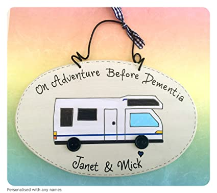 Yorkshire Craft Creations Personalised Motor Home Sign - On an Adventure Before Dementia Plaque Motorhome Handmade