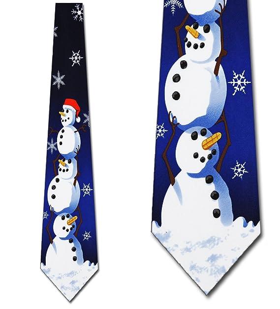 amazon com christmas ties snowman necktie mens tie by three rooker