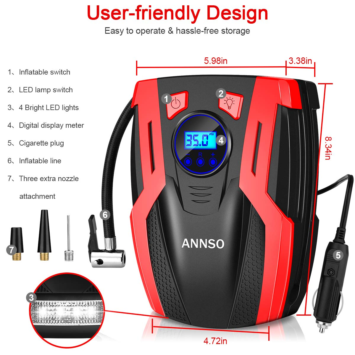 ANNSO Air Compressor Tire Inflator,Car Tire Pump Air Pump for Car Tires, 12v Digital Car Tire Inflator with Gauge LED Light,150 PSI Portable Air Compressor for Car Tires Other Inflatables by ANNSO (Image #6)