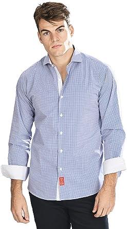Camisa Manga Larga de Vestir, Slim fit, con Cuadros Vichy en Color Azul Marino para Hombre - 3_M, Azul Marino: Amazon.es: Ropa y accesorios