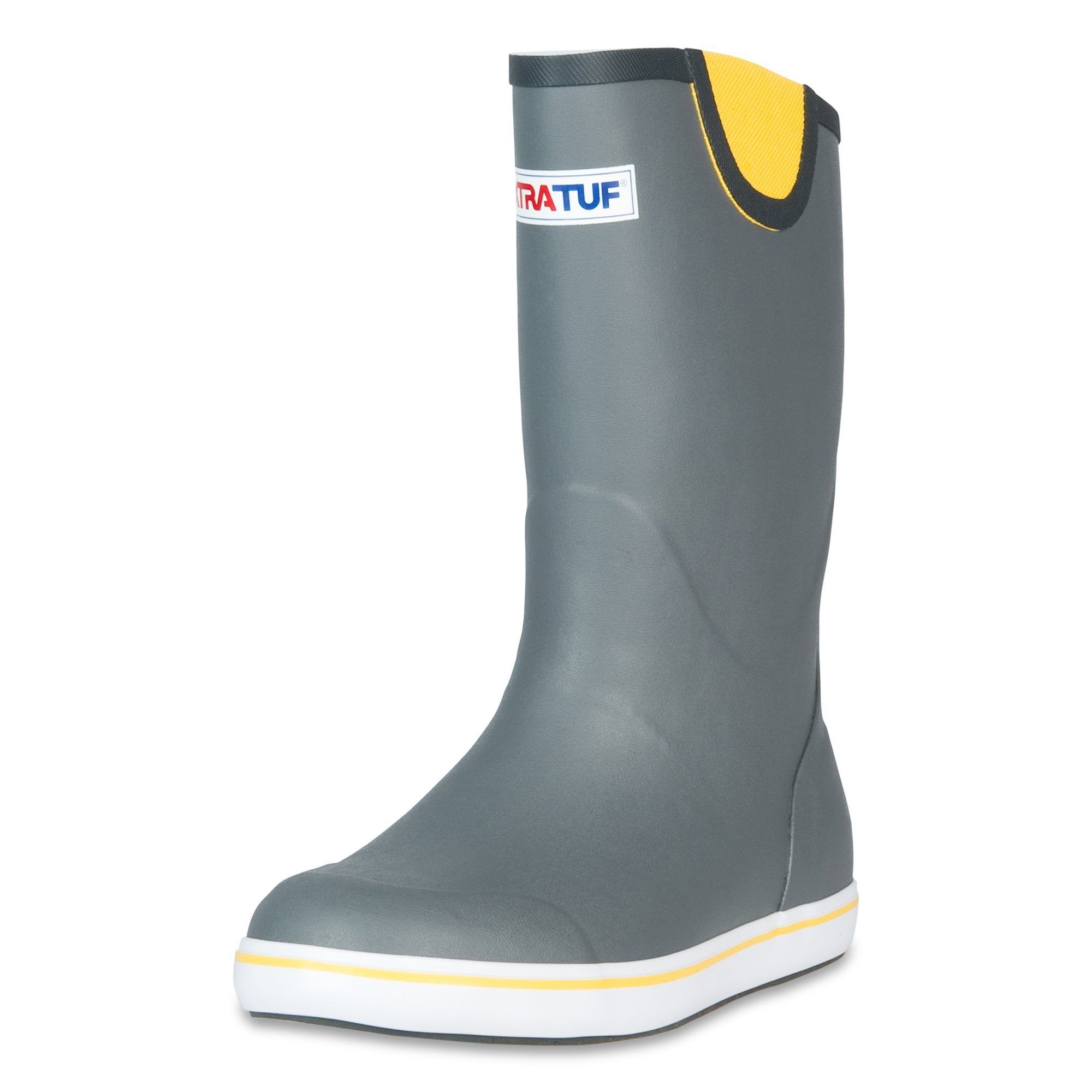 XTRATUF Performance Series 12'' Men's Full Rubber Deck Boots, Gray & Yellow (22712) by Xtratuf