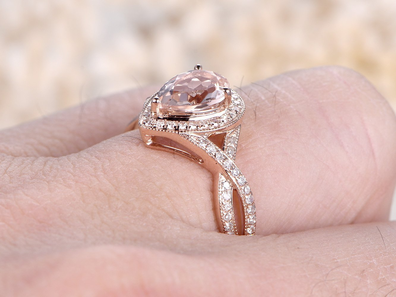 Amazon.com: 6x8mm Pear Shape Cut Natural Pink Morganite Engagement ...