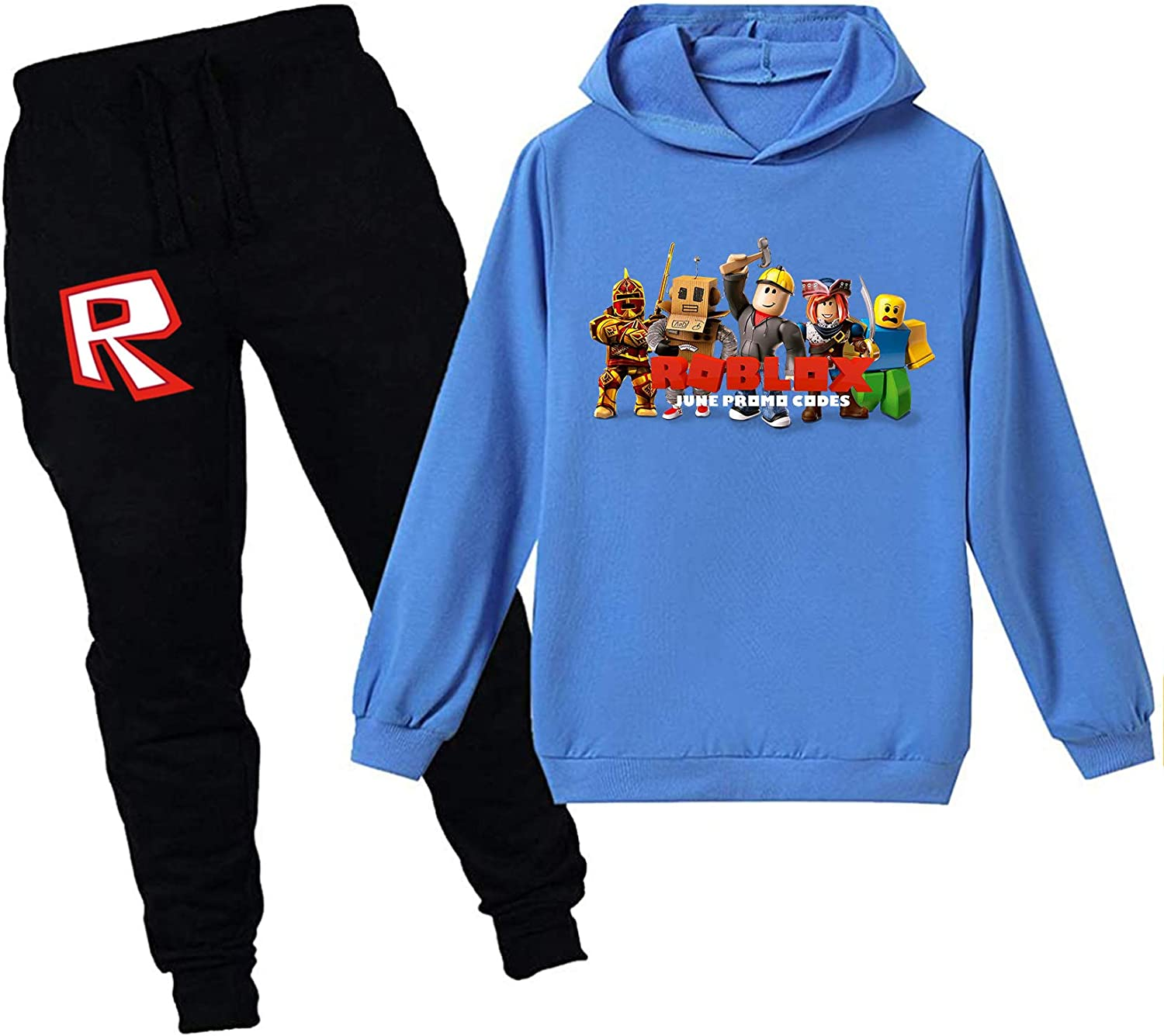 Tesefe Youth RO-BLOX Hoodies and Sweatpants Suit 2 Piece Outfit Tracksuit for Boys Girls