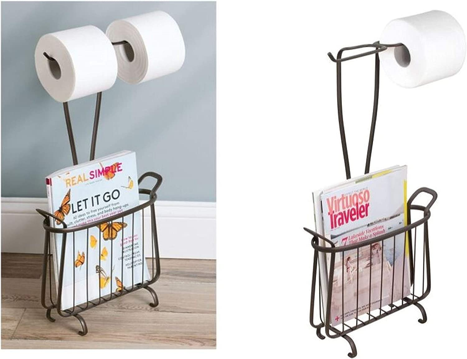 Idesign Axis Free Standing Toilet Paper Holder And Newspaper And Magazine Rack For Bathroom Bronze Home Kitchen