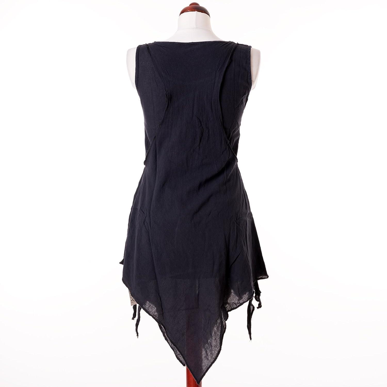 Vishes tunica in cotone realizzata a mano taglio irregolare look vintage abbigliamento alternativo