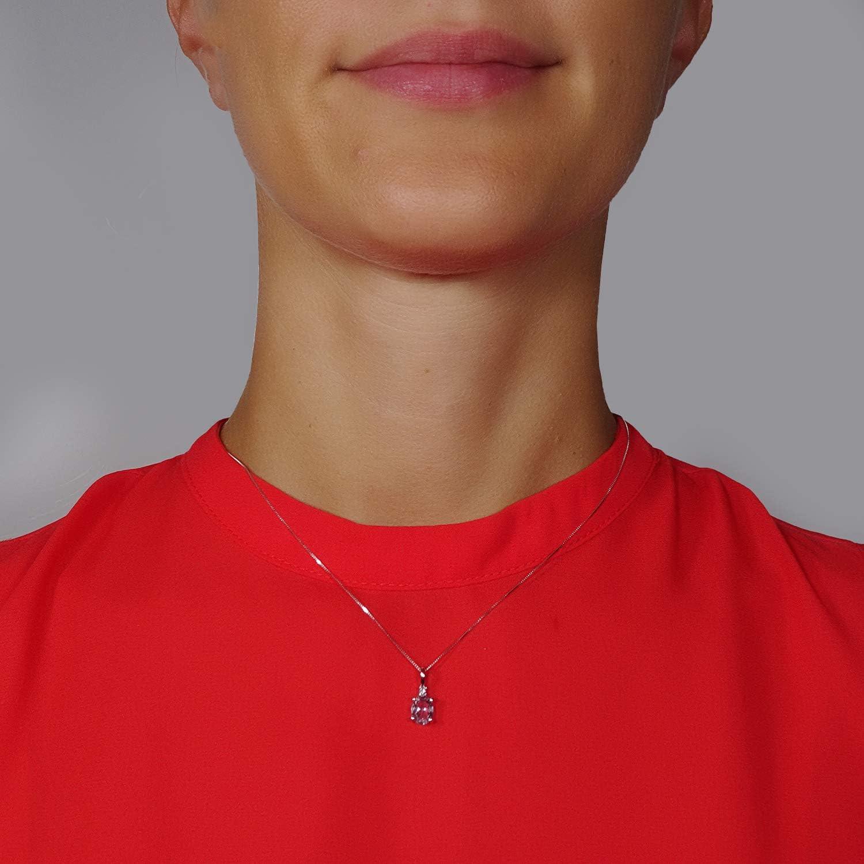 MILLE AMORI /∞ Collier Femme Pendentif Or et Diamants /∞ Or Blanc 9 Kt 375 Diamants 0.02 Kt /∞ Aigue/∞Marine 1,15 carat /∞ Chaine v/énitienne 42 cm