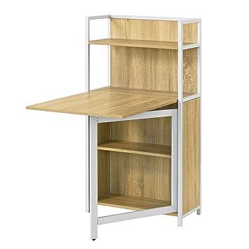 Sobuy Fwt12 N Table Pliante Armoire Avec Table Pliable Intégrée Table D Ordinateur Table De Cuisine Table De Rapas Bibliothèque Bureau