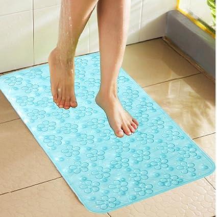 Kuber Industries PVC Non Slip Bathroom Mat - Sky-Blue