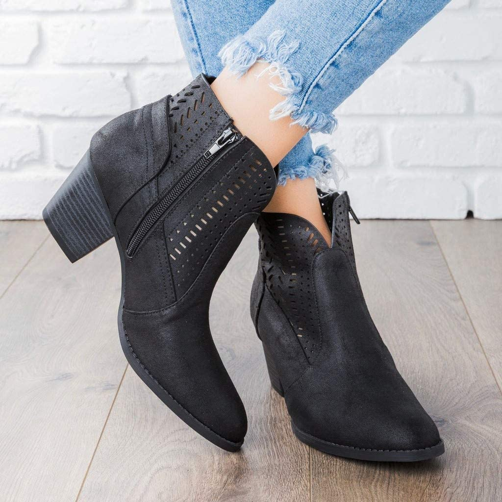 Miuye yuren Ladies Booties Women Ankle Boots Slouchy Boots Soft Flat Low Heel Vintage Leather Ankle Shoes