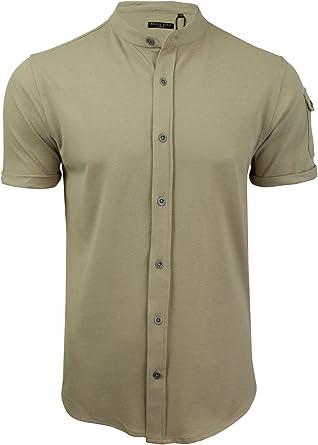 Brave Soul Hombre Joey Diseñador Algodón Cuello Mao Pique Camisa: Amazon.es: Ropa y accesorios