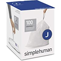 simplehuman CW0238 Code J Custom Fit Liners, Tall Kitchen Drawstring Trash Bags, 30-45 Liter / 8-11.9 Gallon, 100-Count…
